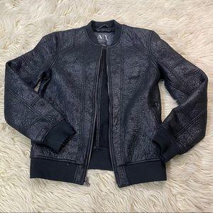 Armani Exchange textured leather bomber jacket